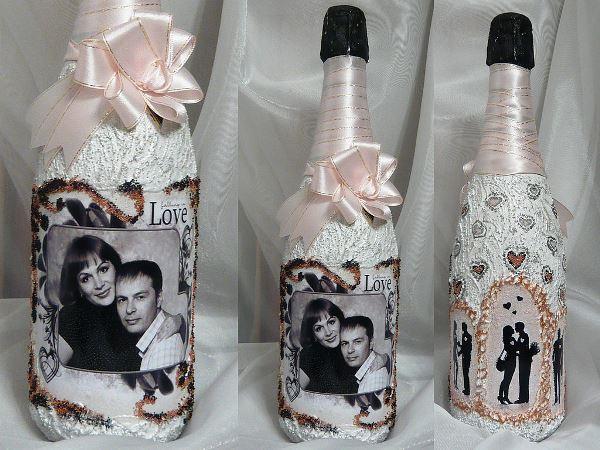Декор бутылок с фотографией